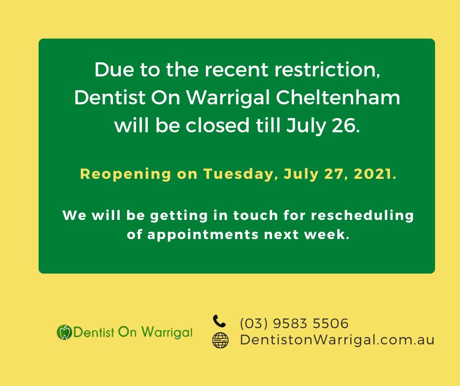 covid update dentist on warrigal cheltenham