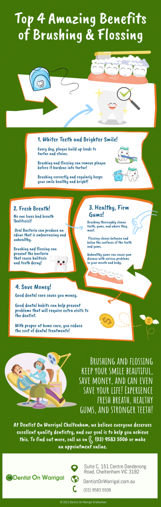 top 4 amazing benefits of brushing and flossing from dentist on warrigal cheltenham infographic